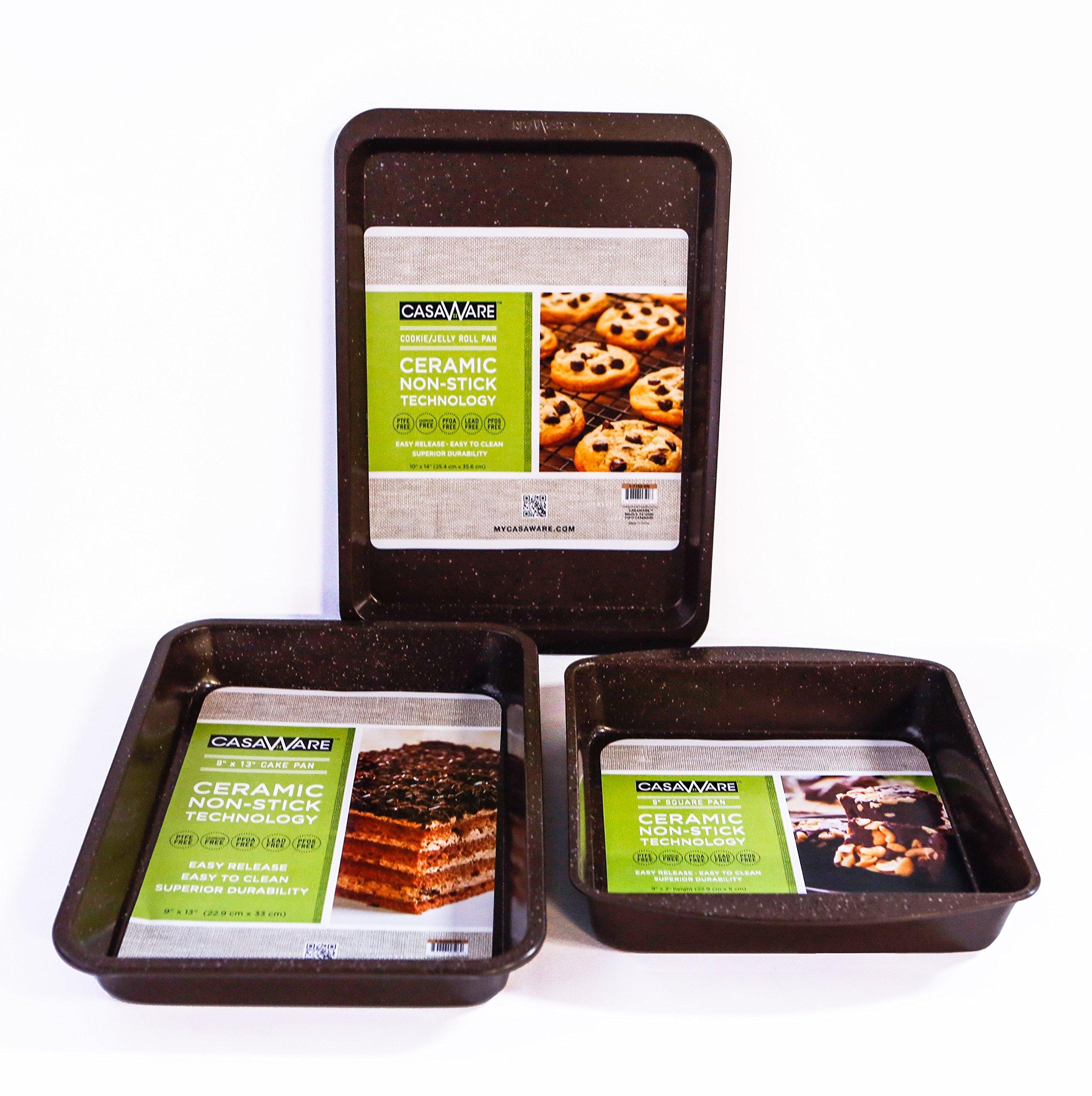 casaWare Brown Granite 3pc Bakeware Set with Brownie Pan