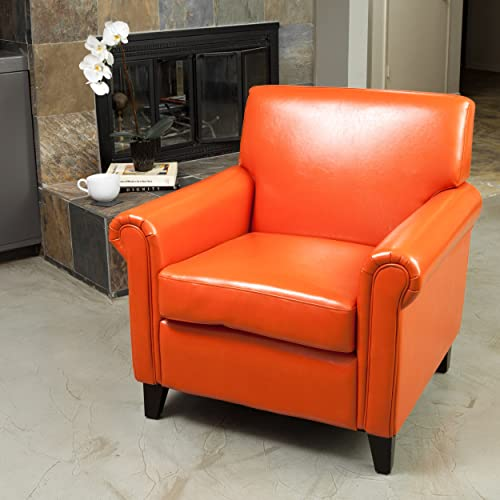 Christopher Knight Home Rolled Arm Leather Burnt Club Chair, Orange