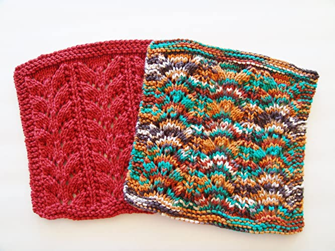 Amazon Knit Cotton Dishcloths Set Of Two Burnt Sienna And