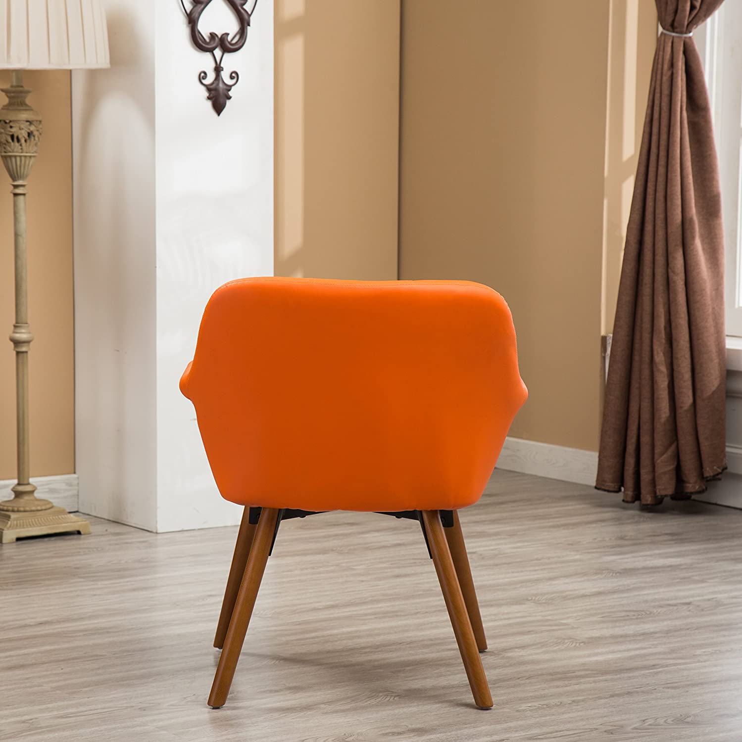 Amazon com roundhill furniture ac122og vauclucy contemporary faux leather diamond tufted accent chair orange kitchen dining