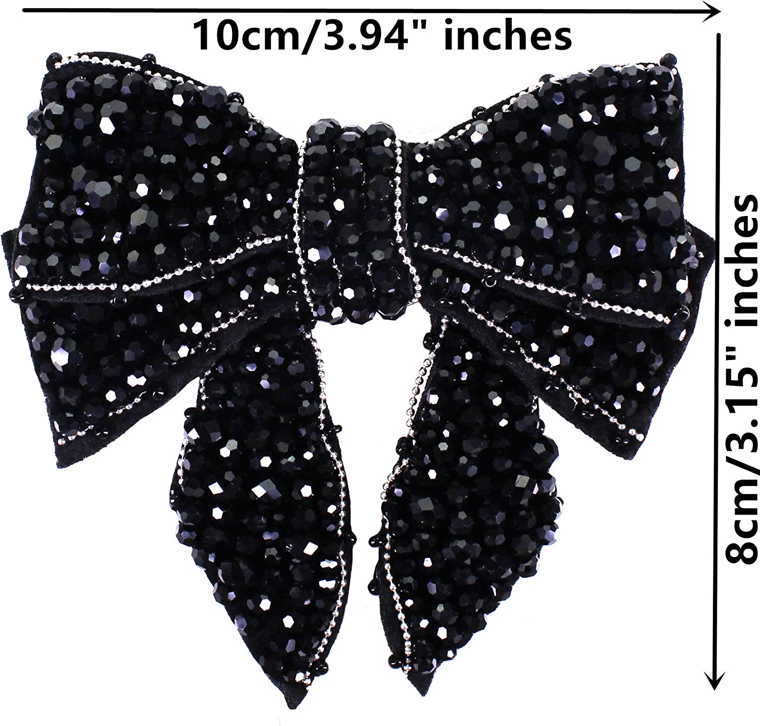 Beaded Bowknot Design Patches Applique Badges for DIY Clothes Collar Tie Shoes Brooches Headband Decorated 1piece Black