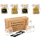 12 Pack - 3.4 Ounce Mini Square Glass Spice Jar with Orange Flip-Top Gasket, Airtight Clear Storage Jars, by Premium Vials