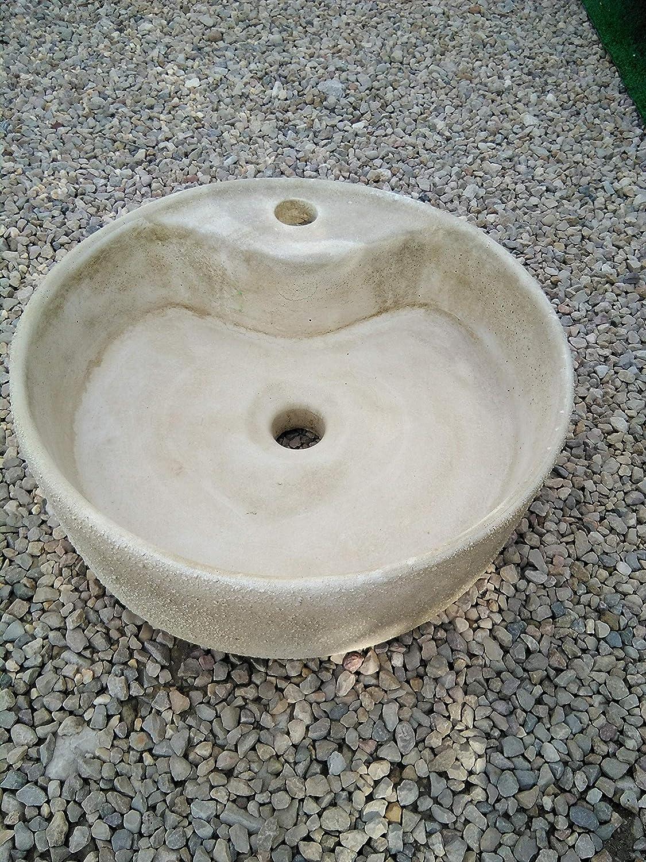 CATART Pila LAVAMANOS Rustica Redonda para Interior O Exterior EN Piedra 40X40X14cm.: Amazon.es: Jardín