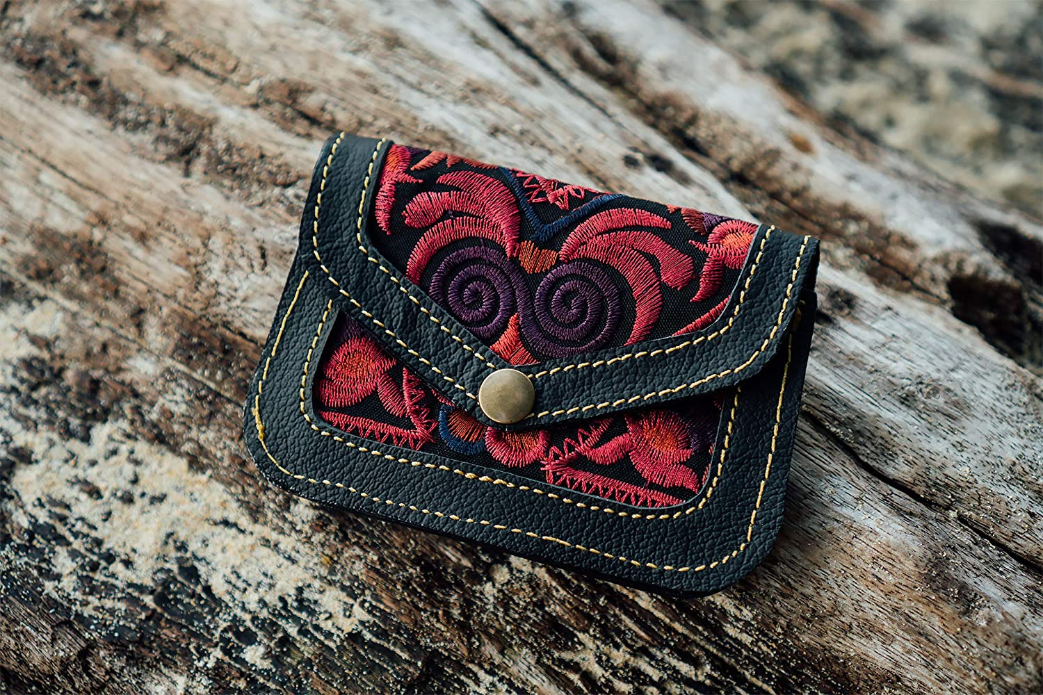 Purse for Women with Red Bird Hmong Embroidered Fabric Genuine Leather Purse Changnoi Boho Wallet