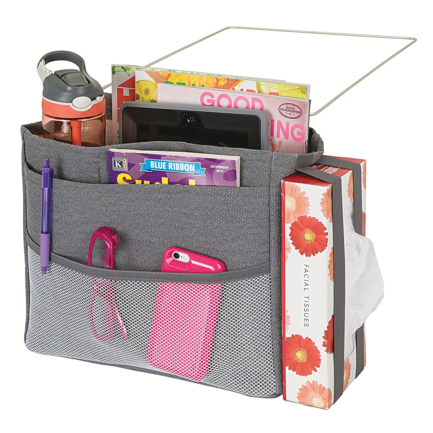 mDesign Bedside Hanging Storage Organizer Caddy Pocket - 4 Deep Pockets, 1 Mesh Front Pocket, Elastic Side Straps Tissue Boxes - Heavy Weight Cotton Canvas, Metal Wire Insert - Charcoal Gray/Satin MetroDecor