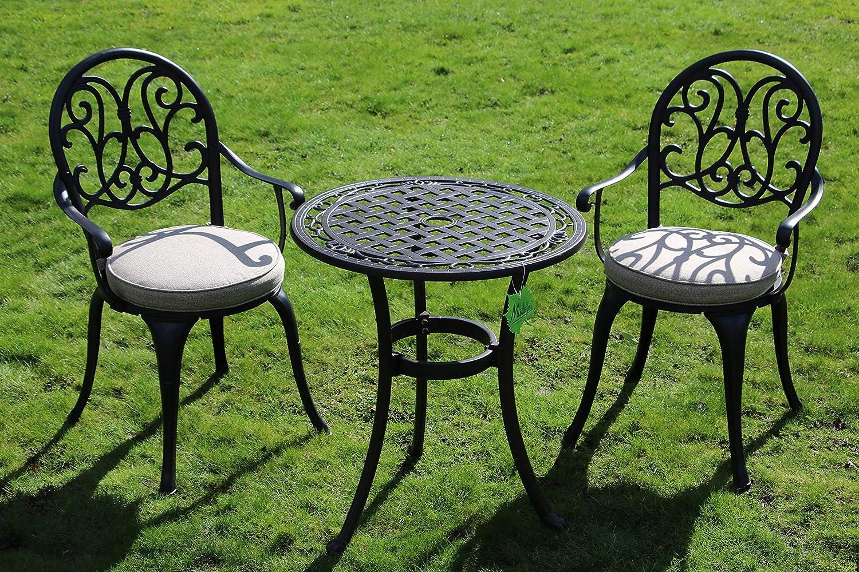 Made for us Alu-Gartenmöbel-Set Gartentisch, Ø 60 cm und 2 Gartenstühle aus  wetterfestem Aluguss mit UV beständiger AkzoNobel Einbrennlackierung. ...