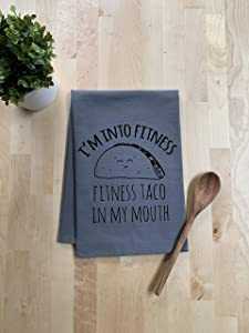 Funny Dishcloth/Tea Towel ~ Fitness Taco In My Mouth ~ Funny Taco Kitchen Cloth ~ Gray