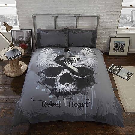 Rebel Heart Double Bed Duvet Cover And Pillowcases Set Gothic Skull