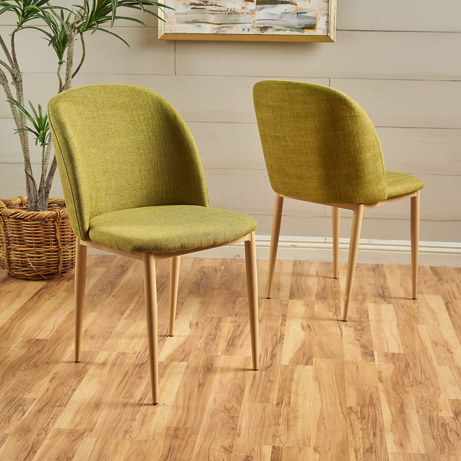 Christopher Knight Home Anneliese Fabric Dining Chairs Set of 2 , Green