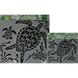 """The Crafter's Workshop Set of 2 Stencils - Sea Turtles 12"""" x 12"""" Large and 6"""" x 6"""" Mini - Includes 1 each TCW610 and TCW610s - Bundle 2 Items"""