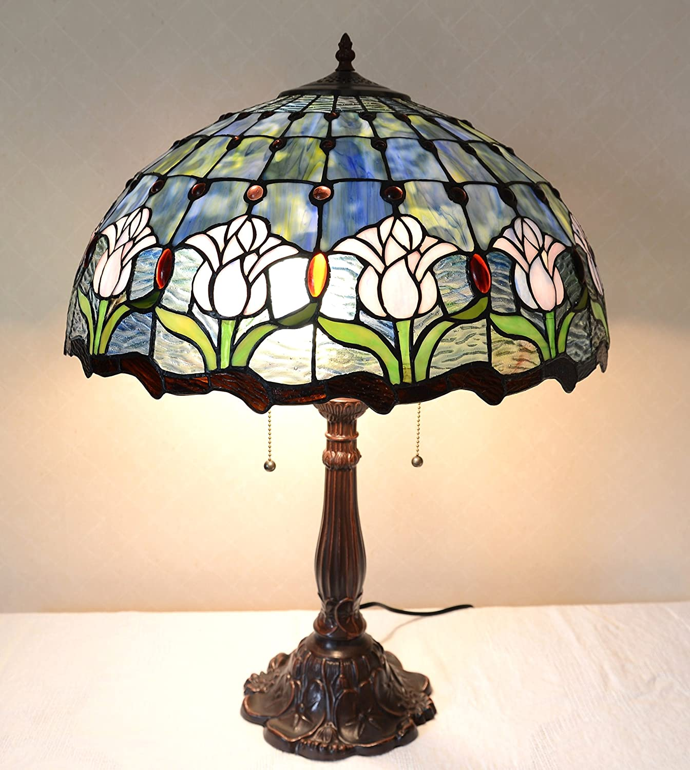 """20""""w Tulips Flowers Stained Glass Tiffany Style Jeweled Lamp"""
