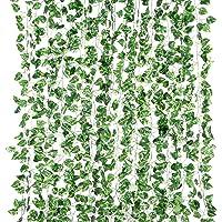 Yizhet girlanda ze sztucznego bluszczu, 12 pasm, roślina wisząca, bluszcz, wisząca girlanda na wesele, do biura, kuchni…