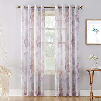 Andora Embroidered Sheer Window Panels Set of 2 Grommet Top Royal Sheer Curtains