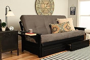 Kodiak Furniture Phoenix Futon Set with Black Finish Suede Gray Mattress No Drawers
