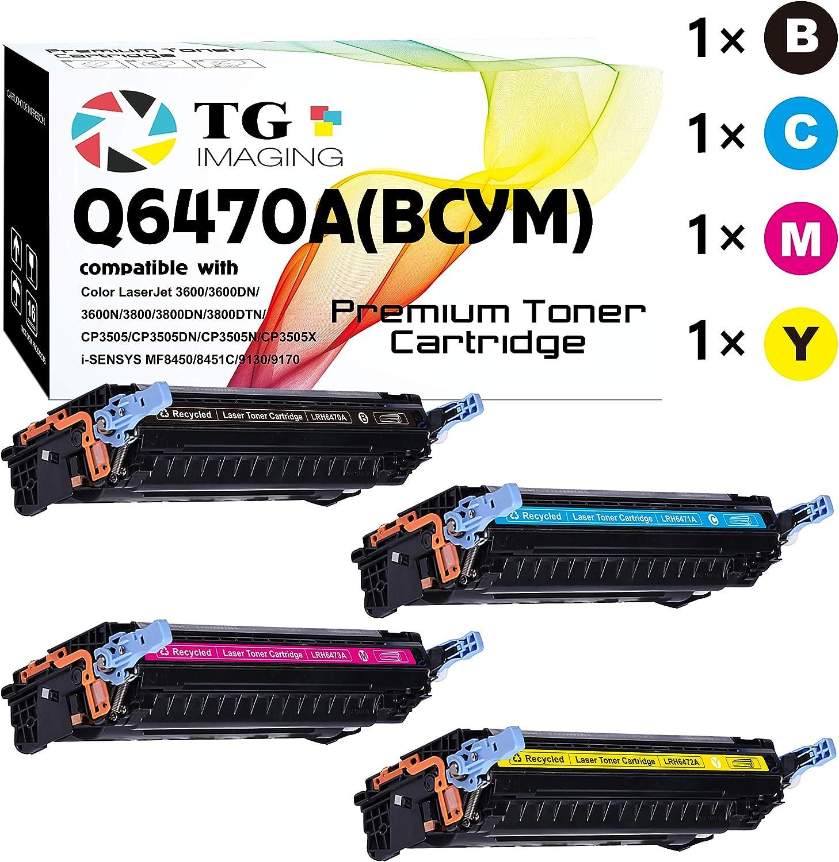 (4 Pack, BCYM) TG Imaging Compatible 501A 502A Q6470A Toner Cartridge Q6471A Q6472A Q6473A Used for HP 3600 3600N 3600DN 3800N 3800DN 3800DTN CP3505 CP3505N CP3505X CP3505DN Printer