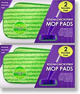 Reusable Mop Pads Fit Swiffer WetJet - Washable Microfiber Mop Pad Refills by Turbo - 12 Inch Floor Cleaning Pads Fit Wet Jet Mop Heads - 4 Pack