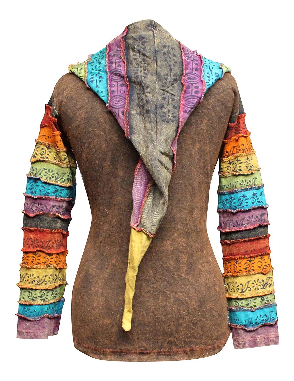 Shopoholic Fashion Womens Sun Patchwork Pixie Hippy Ribs Hoodie Faded Jacket