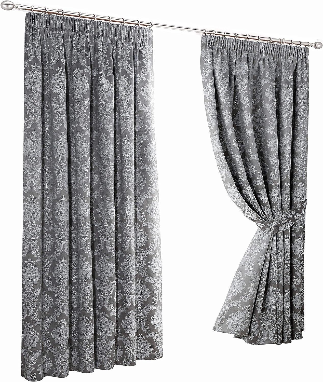 Fusion Eastbourne Damask Jacquard Pencil Pleat Curtains