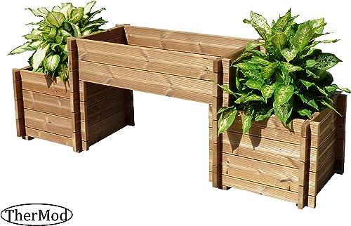 Organic Gardening Wood Planter Box Bench TherMod Mira2