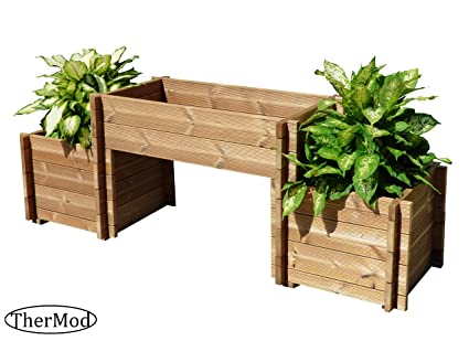 Amazon Com Organic Gardening Wood Planter Box Bench Thermod Mira2