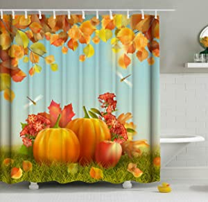 ShineSnow Harvest Autumn Pumpkin Apple Dragonfly Fall Leaves Thanksgiving Shower Curtain Set 72 x 72 Inches, Home Decor Bathroom Accessories Waterproof Polyester Fabric Curtains