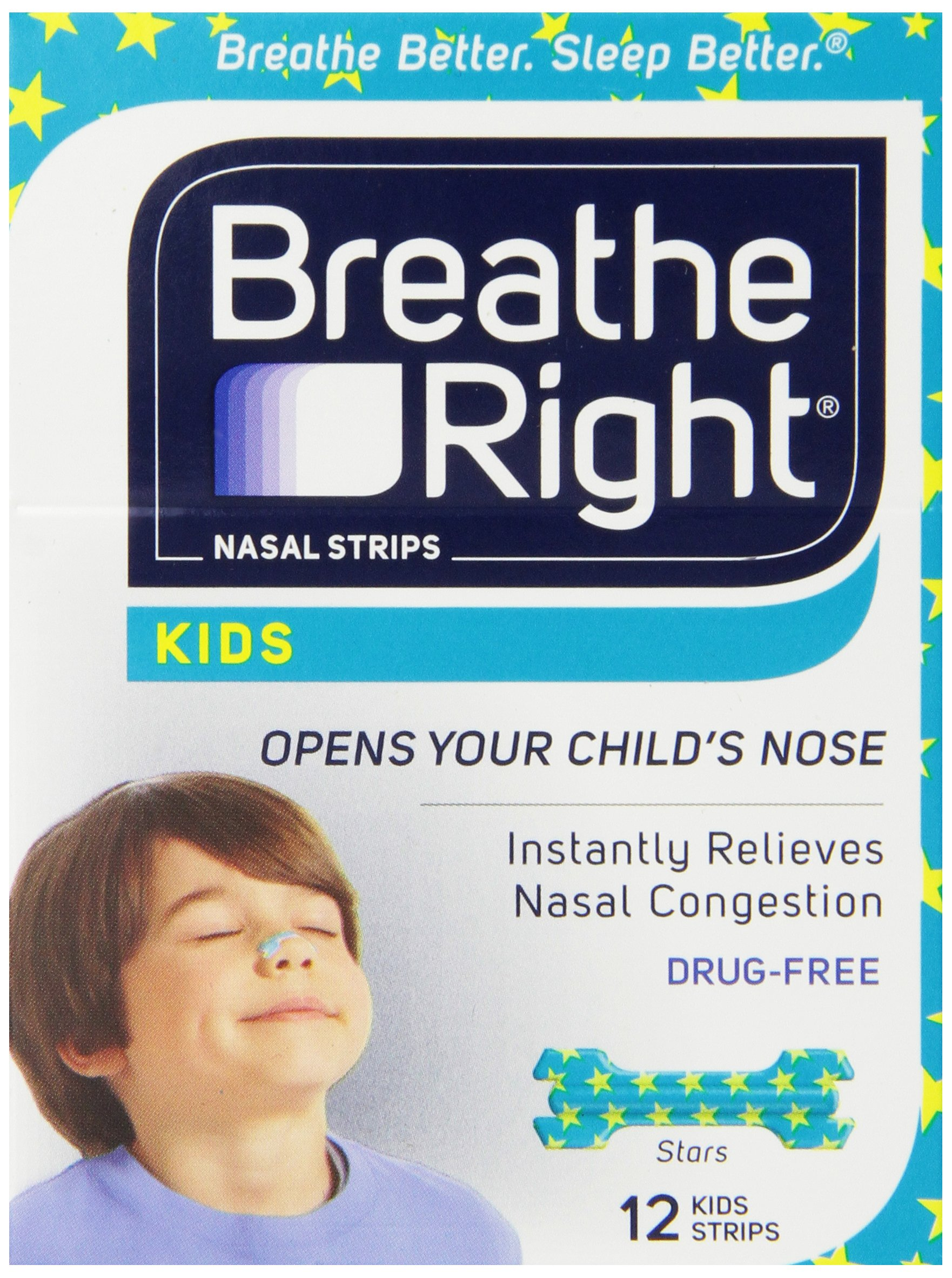 Breathe Right Nasal Strips For Kids, 12-Count Boxes (Pack of 3) by Breathe Right