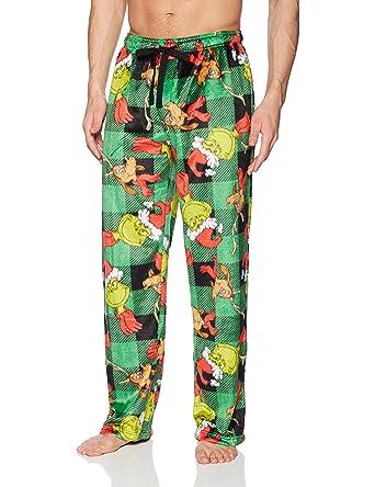 3b05ba058 Dr. Seuss Men s Grinch and MAX Buffalo Plaid Pajama Bottom