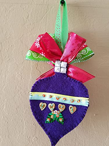 felt christmas tree ornaments purple felt ornaments red ribbon silver lace green - Handmade Felt Christmas Decorations