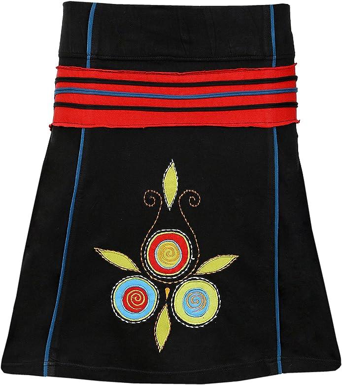 TATTOPANI de Mini Falda de algodón con Cintura elástica y Bordado ...