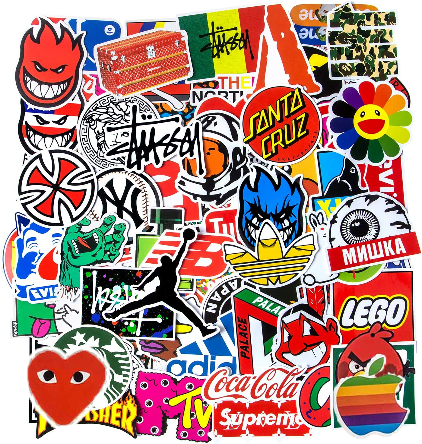 Brand Stickers, Cool Stickers for Hydro Flask, Water Bottle Stickers Vinyl Waterproof Luggage Car Bike Bicycle Computer Stickers for Teens(100pcs)