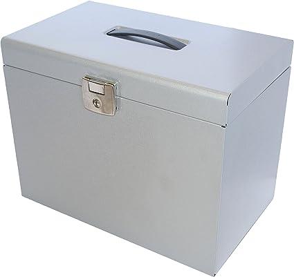 Caja de metal para almacenamiento de carpetas A4 - 5 carpetas colgantes, etiquetas y hojas sueltas tamaño A4, color plata: Amazon.es: Oficina y papelería