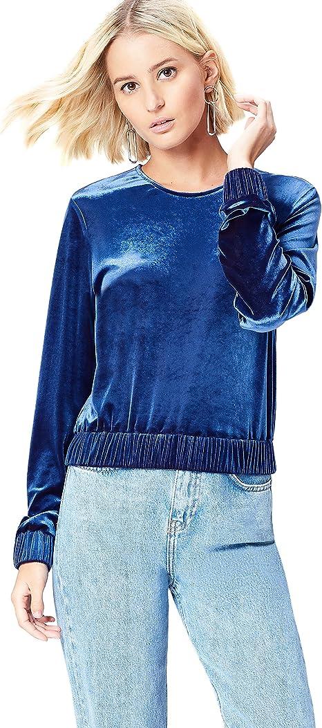Marca Amazon - find. Camiseta de Manga Larga y Cuello Redondo Mujer