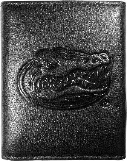 Siskiyou NCAA Oregon Ducks Embossed Black Tri-fold Leather Wallet