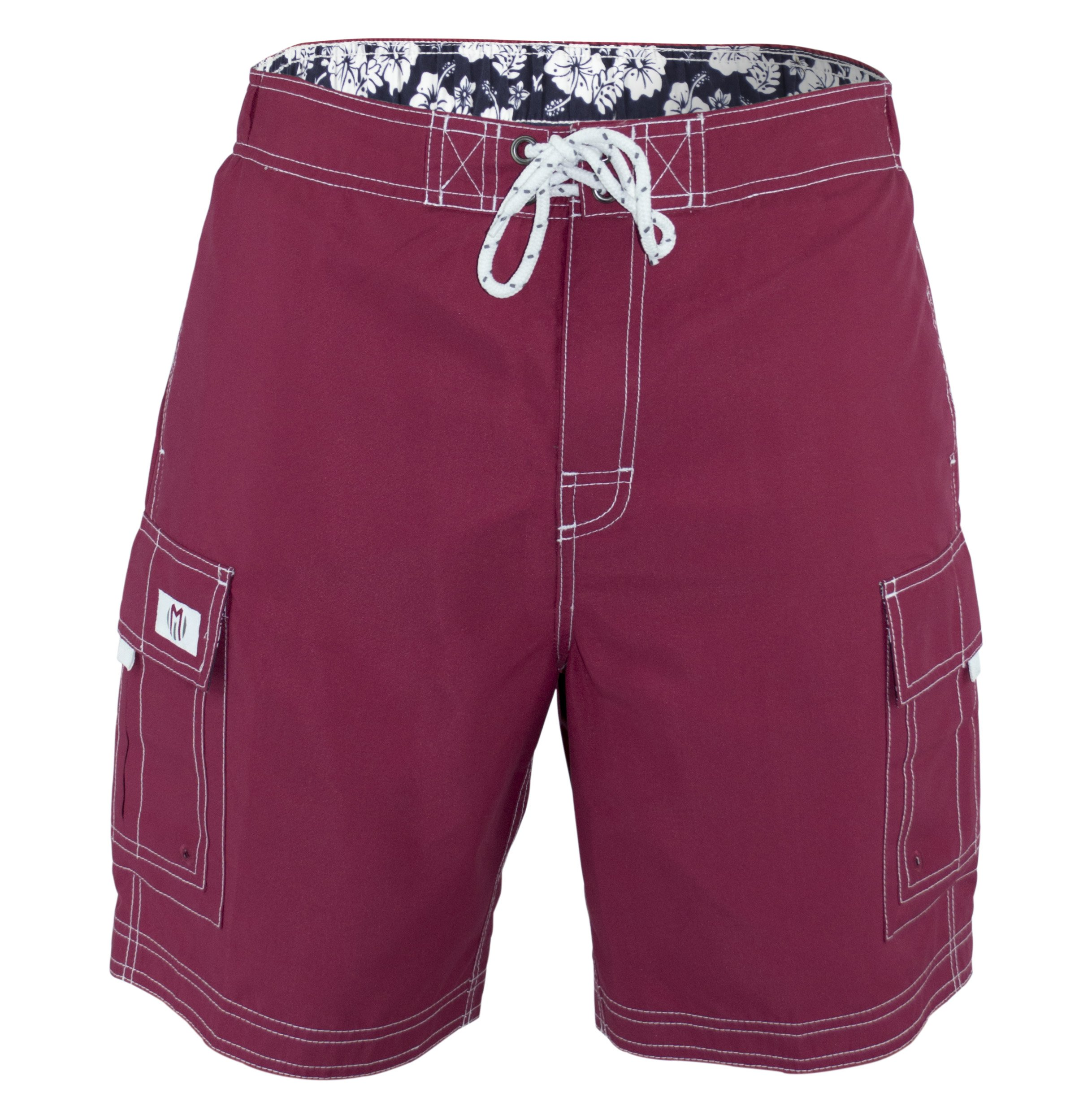 Matereek Men's Solid Color Cargo Trunks Style Microfiber Bathing Suit Red Large