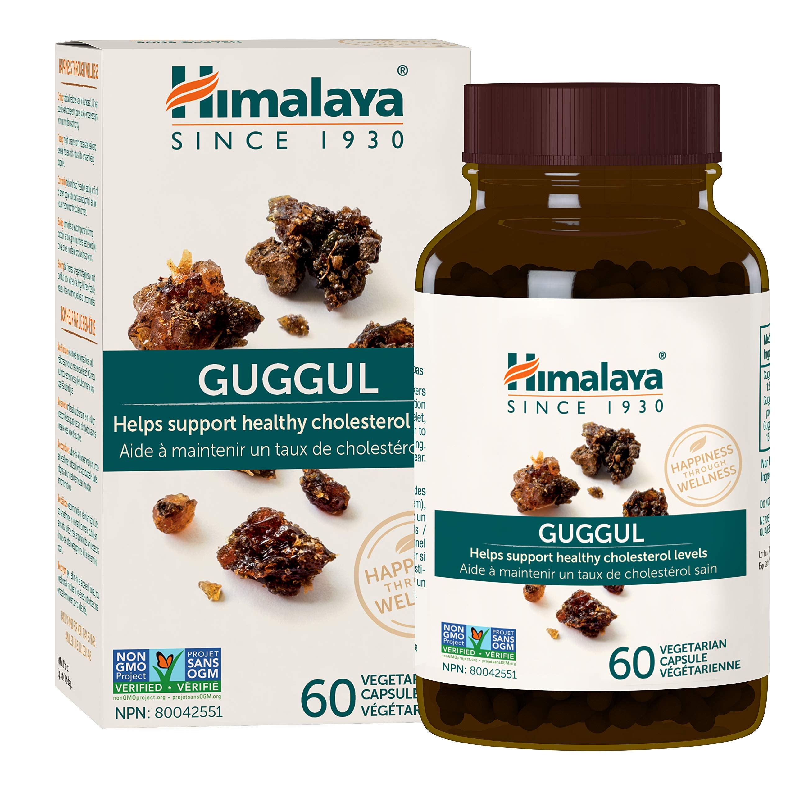 Himalaya Guggul, Cholesterol Supplement for Healthy LDL, HDL and Triglyceride Levels, 750 mg, 60 Capsules, 15 Day Supply