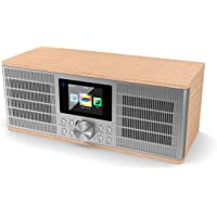 Majority Peterhouse Graduate Internet Radio WiFi with Spotify Connect Streaming, Bluetooth, Remote Control, USB Charging and Input, AUX-in, Dual Alarm Clock, Colour Display (Oak)