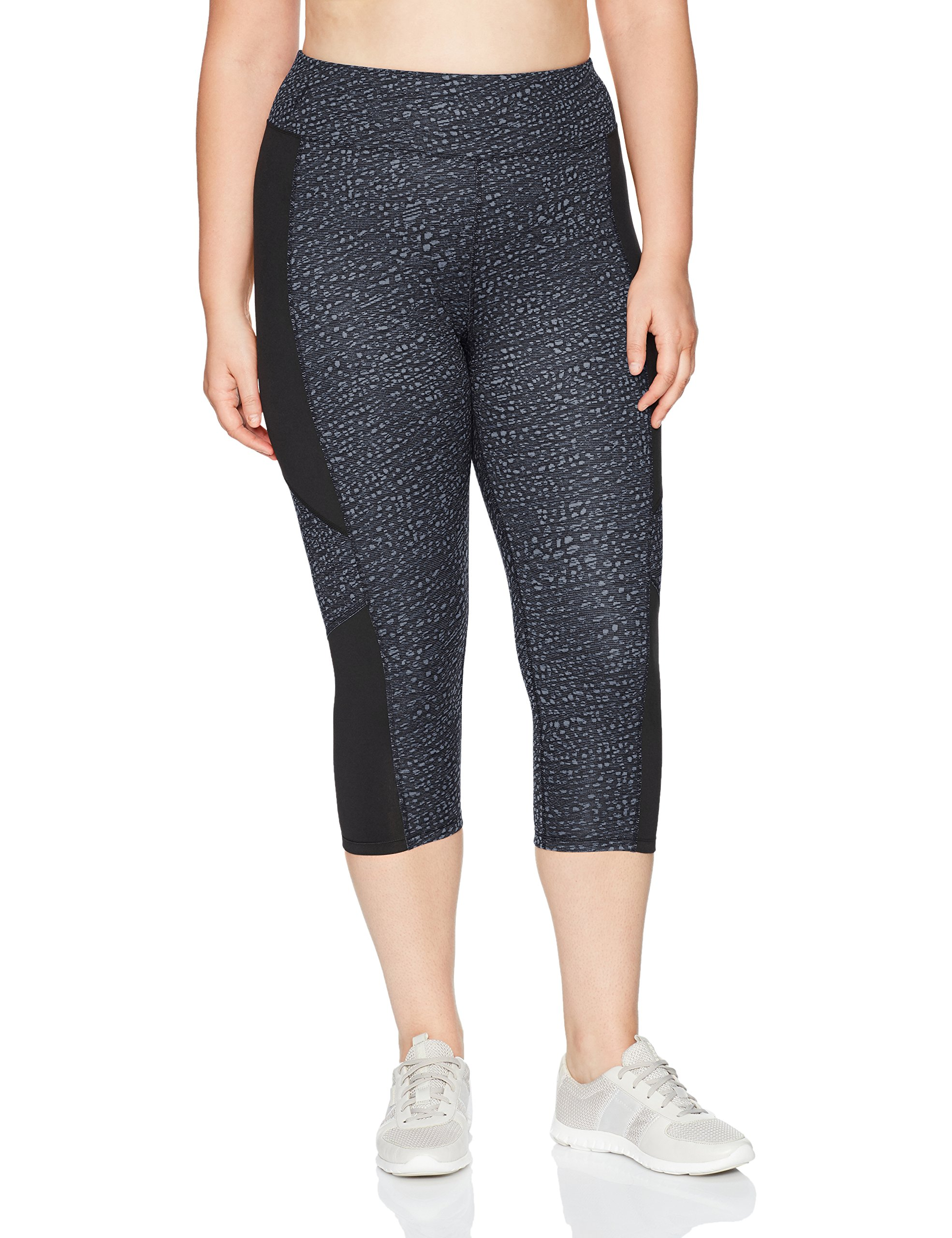 Just My Size Women's Plus Size Active Pieced Stretch Capri, Spot On Slate Grey/Black, 2X