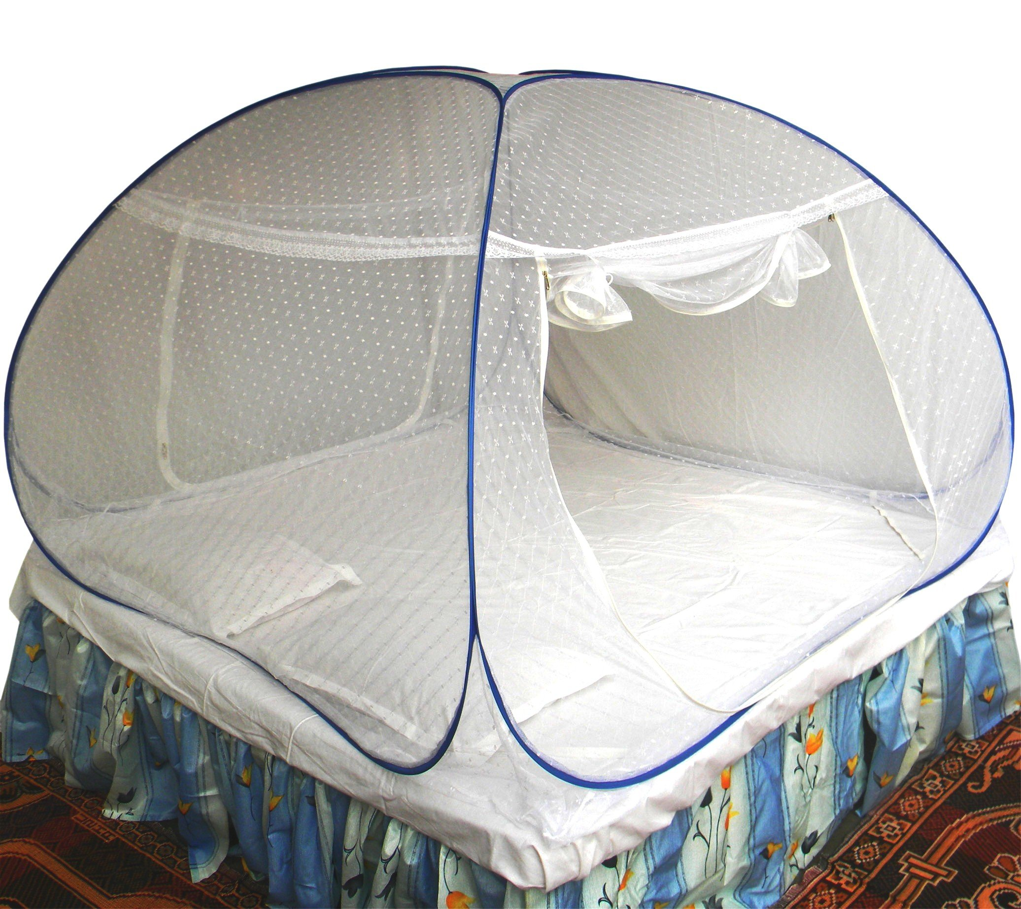 Healthy Sleeping Foldable Polyester Double Bed Mosquito Net - Embroidery (White) product image