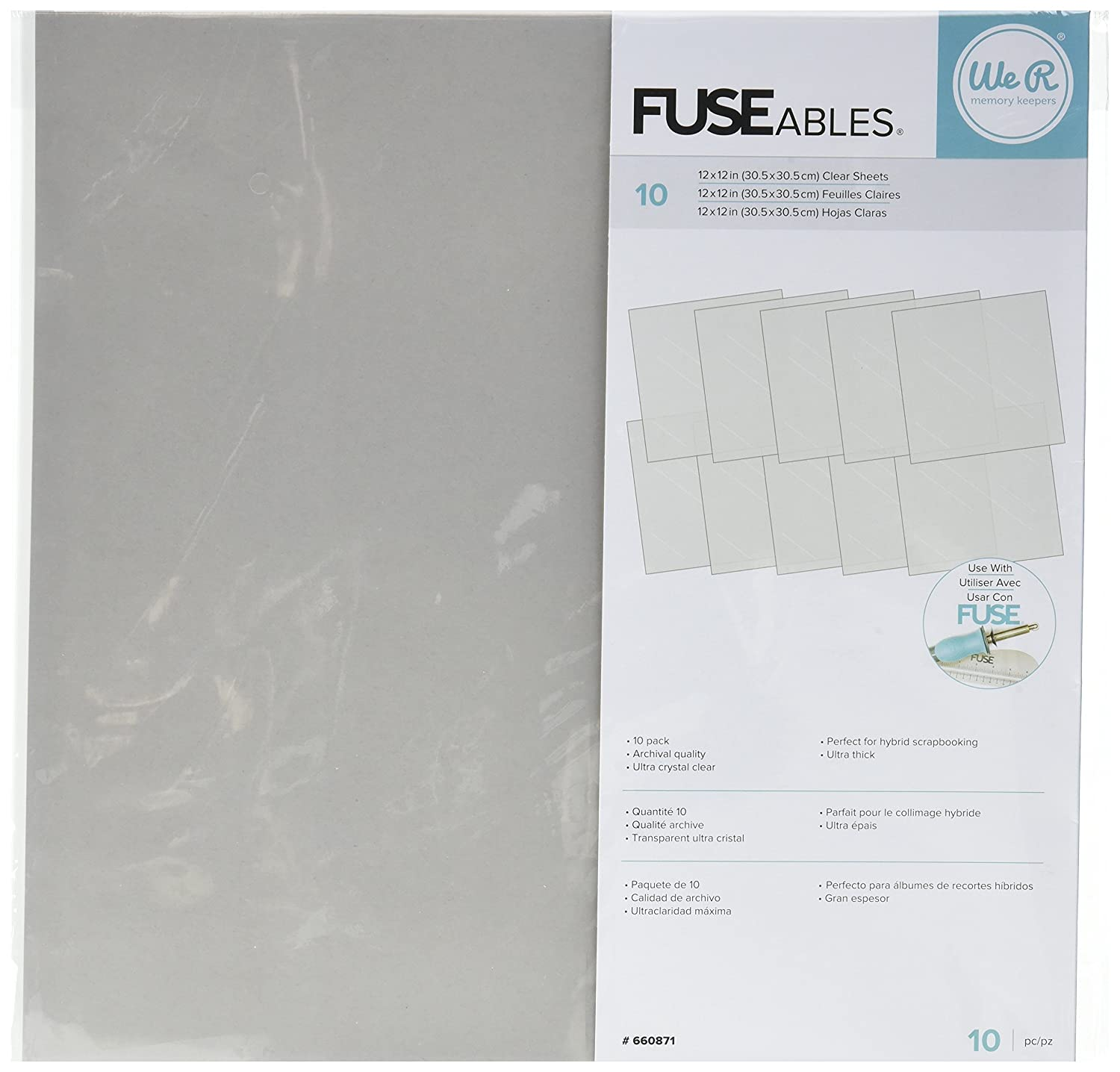 We R Memory Keepers 660871 10 Piece Fuseables Clear Sheets, 12 x 12 12 x 12 American Crafts
