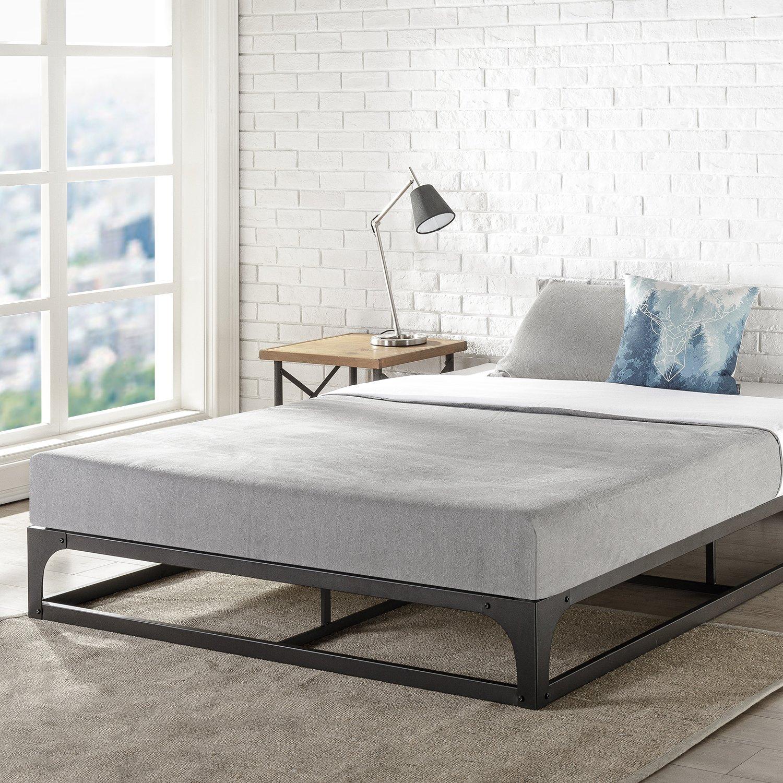 Mellow Queen 9'' Metal Platform Bed Frame w/Heavy Duty Steel Slat Mattress Foundation (No Box Spring Needed), Black