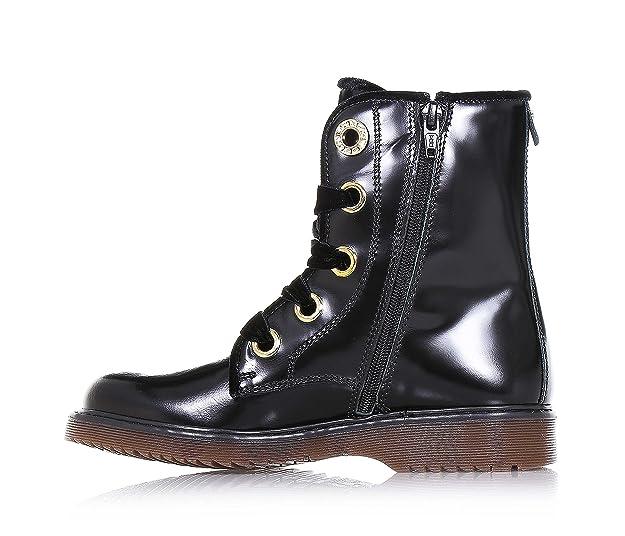 Twin Set Chaussure Noire à Lacets, en Cuir Brillant, Made in Italy d'Haute qualité, avec Lacets et Ourlet Supérieur en Velours, Fille, Filles, Femme, Femmes-31