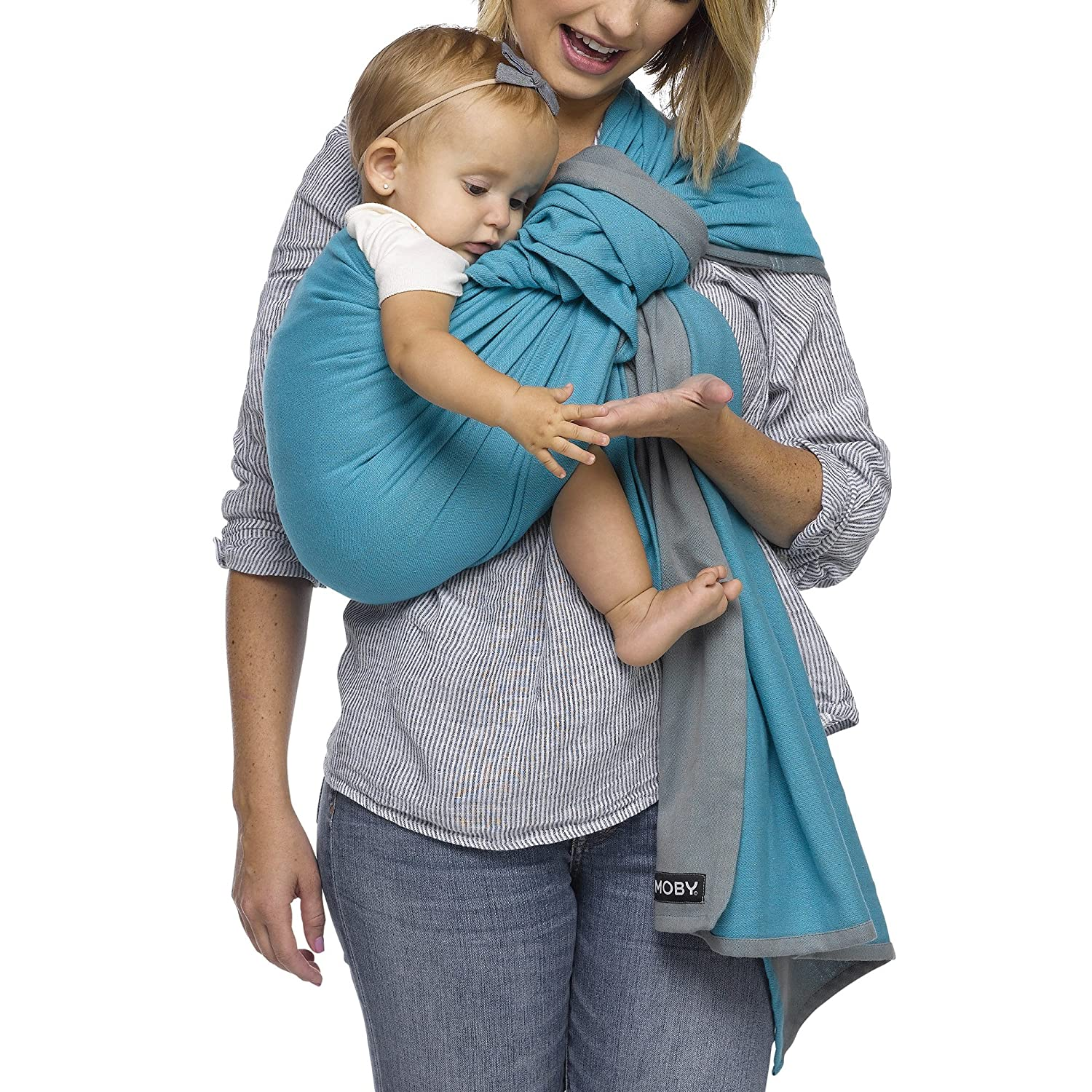 a1f29e452de Amazon.com   Moby Ring Sling Baby Carrier (Ocean Twist) - Ring Sling Carrier  for Babywearing -Baby Sling for Baby Wearing
