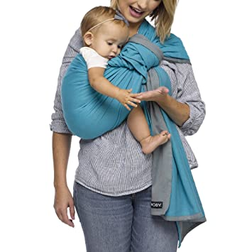 e1ed8a06174 Moby Ring Sling Baby Carrier (Ocean Twist) - Ring Sling Carrier for  Babywearing -