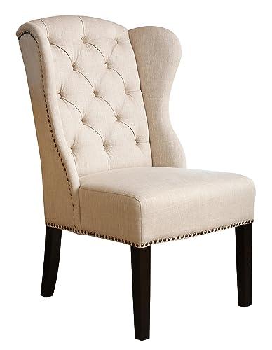 Abbyson Kyrra Tufted Linen Wingback Dining Chair, Cream