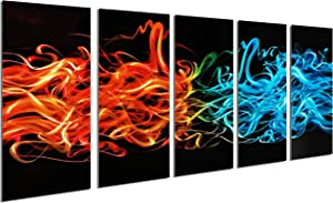 Metal Wall Art for Living Room, Large Fire and Water Design Abstract Metal Art Wall Decor, 3D Decorative Artwork for Indoor Outdoor, Hanging in 5-Panels (Orange Blue, Size 24x 64IN)