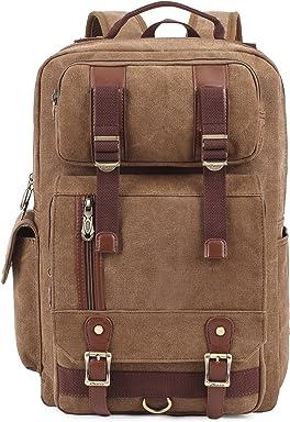 9b3b3956b6510 KAUKKO Unisex Vintage Canvas Backpack Bags with Large Capacity for  Laptop/Travel/Hiking Khaki