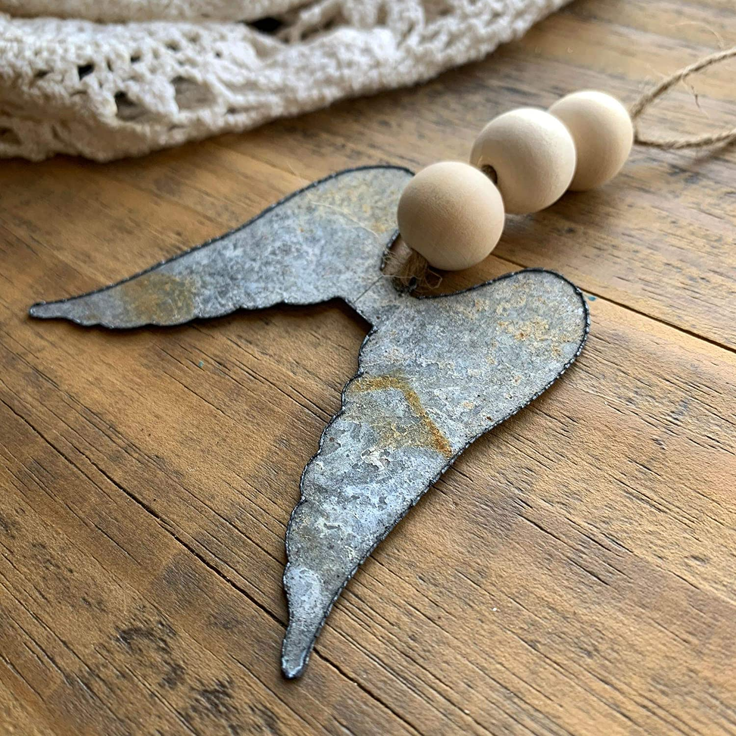 Galvanized Tin Metal Wings with Wooden Farmhouse Beads for Christmas Rustic Angel Wing Ornaments