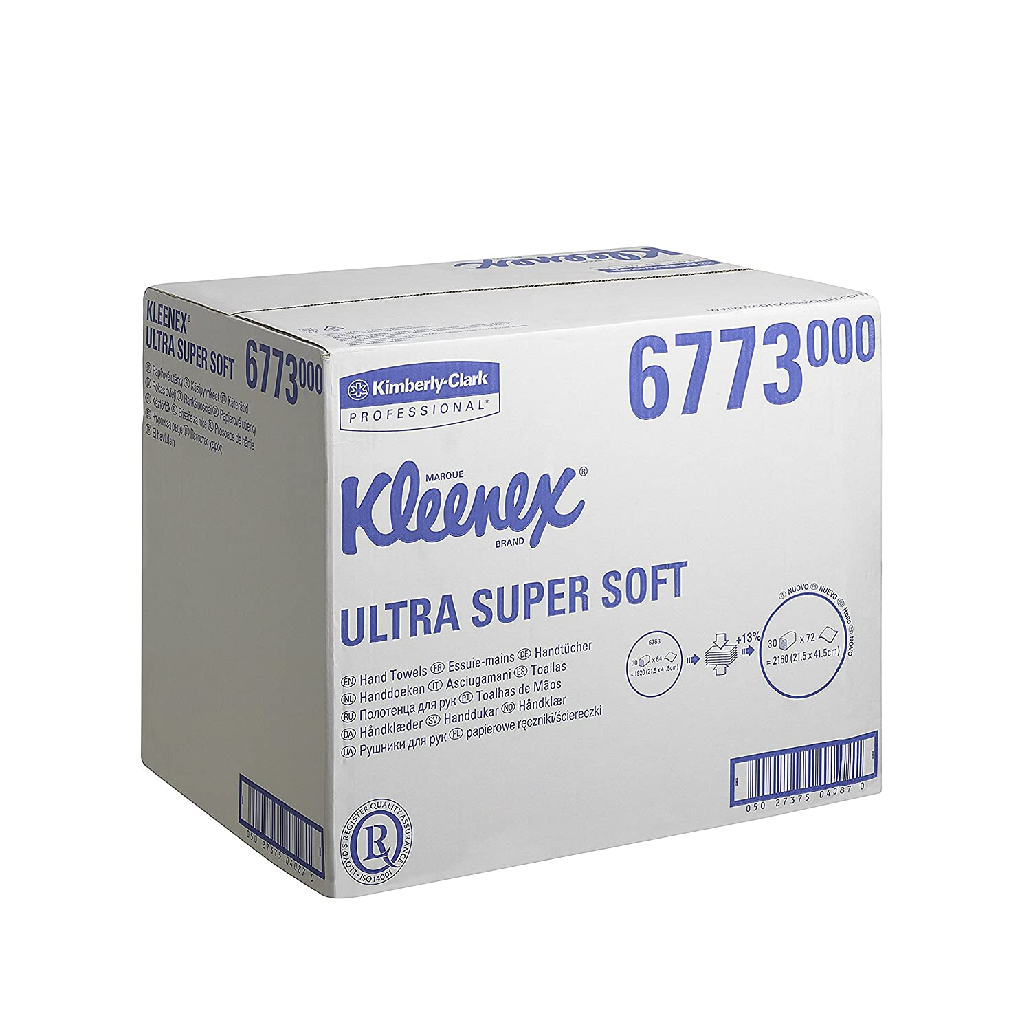 Kleenex 6773 Ultra Super Soft Airflex Hand Towels, Interfolded, White, Three Ply Sheets Per Pack, 72 (Box Contains 30 Packs) Kimberly-Clark Professional (EU)