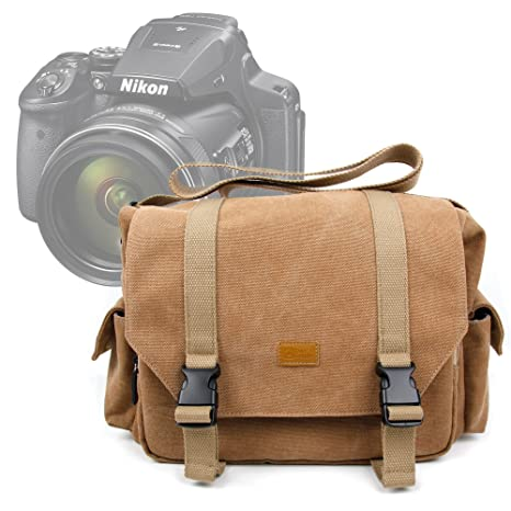 31a7f6741293 Amazon.com : DURAGADGET Brown Canvas Carry Bag/Case for New Nikon ...