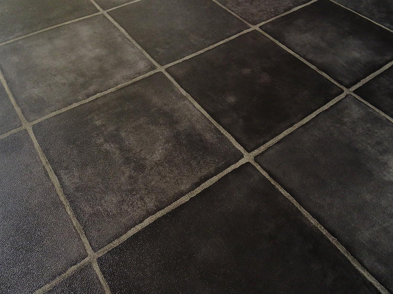 schwarz von Alpha-Tex 4.95/€//m/² PVC in schwarzer Fliesen-Optik diagonal L/änge: 150 cm, Breite: 400cm